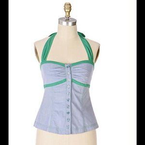 Anthropologie Fei Chambray Corset Halter Top NWT
